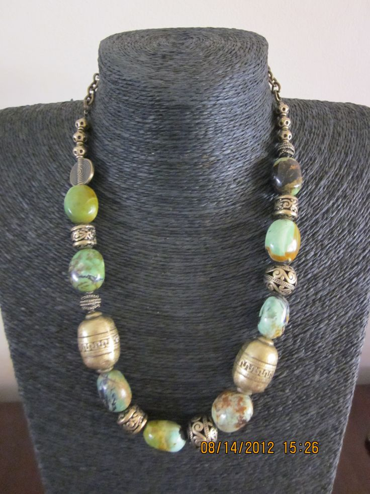Semi precious chrysophase and brass findings
