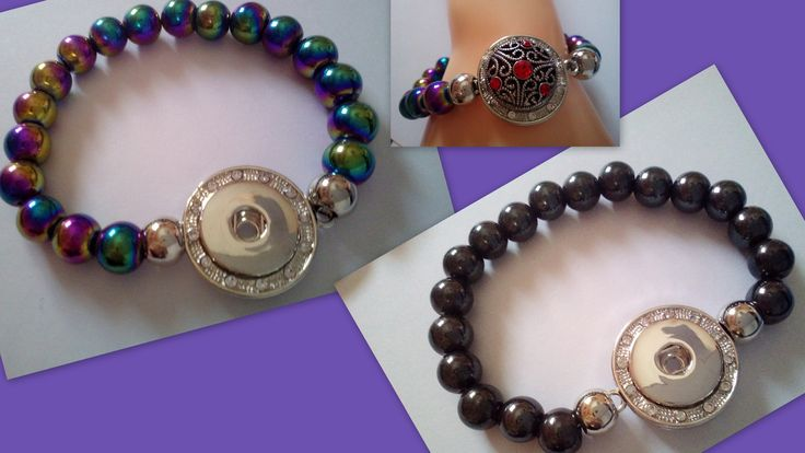 Natural Magnetic Hematite Protection Healing Balance Gemstone Rainbow or Black 18 mm Snap Ginger Popper Button Socket Men Women Bracelet