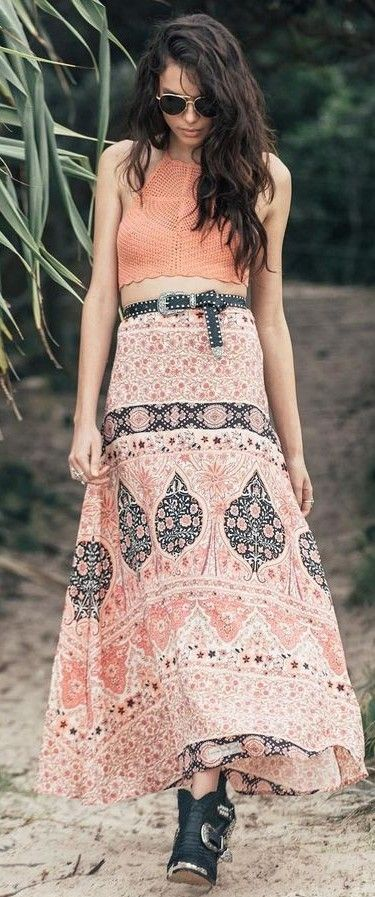 Coral Crochet Top + Maxi Skirt                                                                             Source