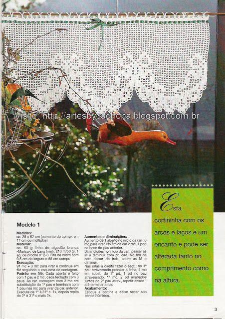 Artes by Cachopa - Croche & Trico: Croche - Cortinas - tem esquema