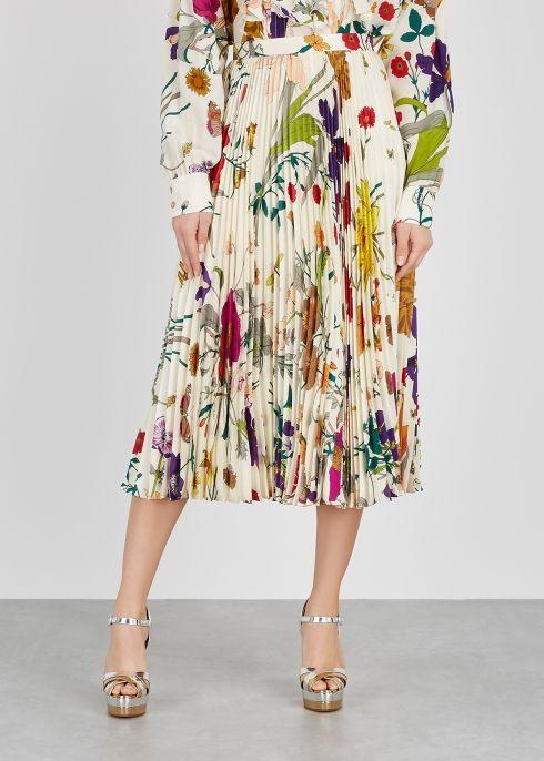c9742a23d6 Flora-print pleated silk skirt in 2019 | Winter Fashion | Silk skirt ...