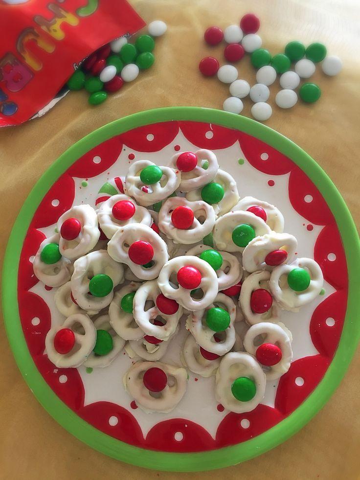 Pretzels bañados en chocolate blanco, receta navideña para hacer con los niños!