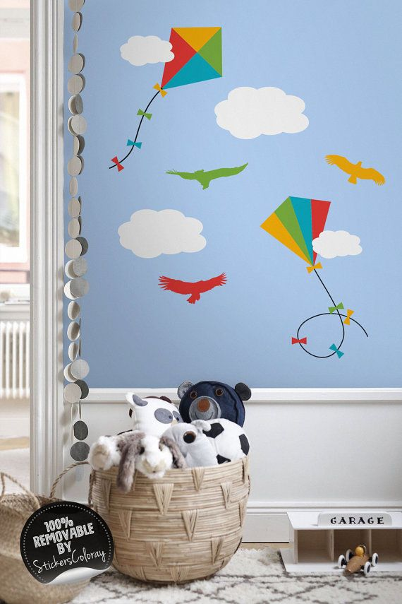 Kites wall decal, Clouds and birds wall decor, Removable, Peel and Stick, Birds in the sky wall sticker, Reusable, Repositionable #14