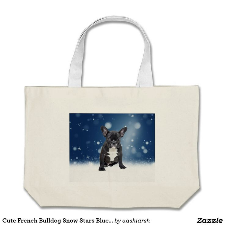 #Cute #French #Bulldog #Snow #Stars Blue #Christmas Jumbo #Tote #Bag #shopping #women #girls #shoppingbag #dog #puppy #animal #pet #frenchie
