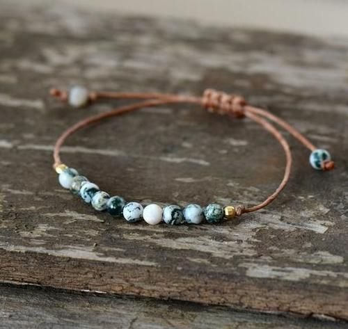 Handmade Natural Tree Agate Stone Adjustable Bracelet - Free Spirit Shop