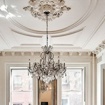 ceiling rose and chandelier