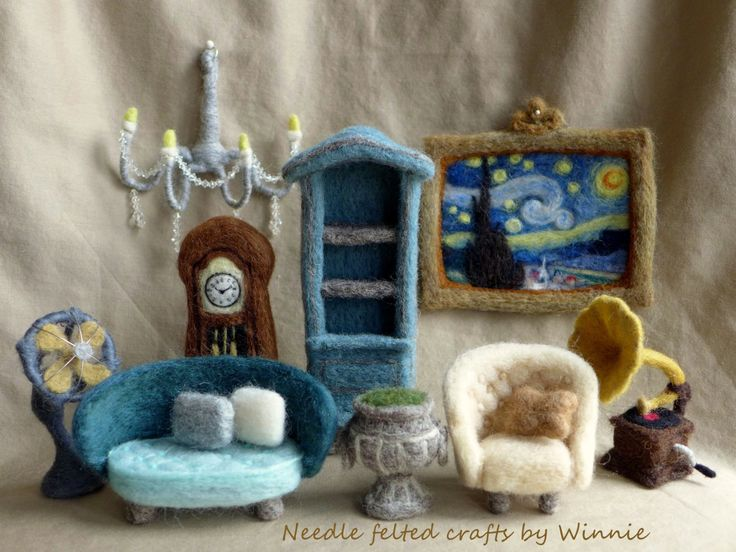 Needle felted antique style furniture set handmade OOAK by FunFeltByWinnie on Etsy