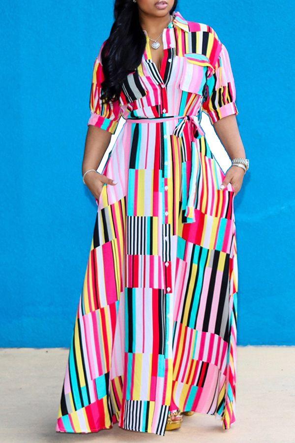 Lovely Bohemian Turndown Collar Striped Multicolor Floor Length A Line Plus Size Dress Plus Size Dress Maxi Dress Casual Dresses Plus Size Floral Dress Casual