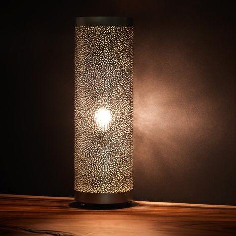 Pierced Metal Cylinder Lamp Art Decor Pinterest