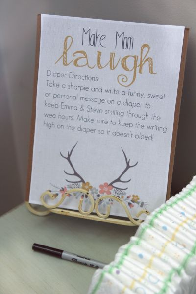 Add some fun to diaper changes! In this creative Baby Shower Game, guests write a funny note or piece of advice to the new parents-to-be on a diaper/nappy!  #babyshower #babyparty  #inspiration #showergames
