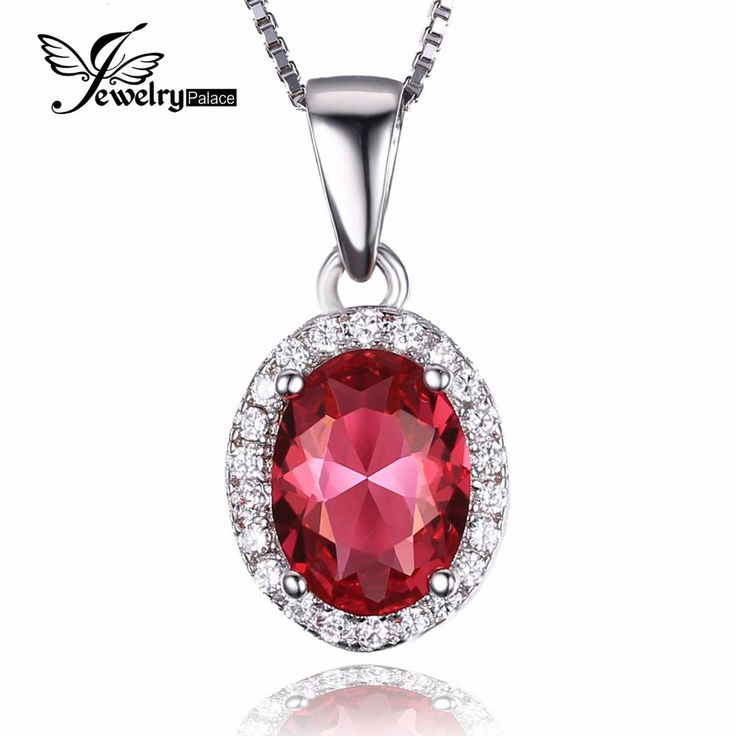 JewelryPalace Classic 2ct Created Pink Sapphire 925 Sterling Silver Halo Pendant Not Include a Chain 2016 Fine Jewelry For Women