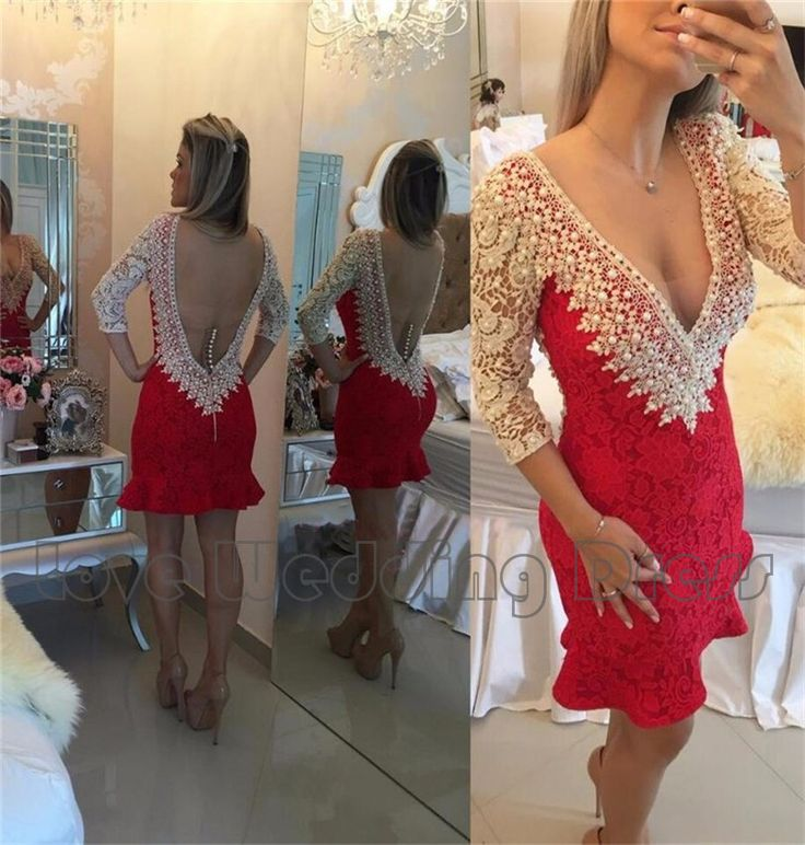 Lace With Pearls Cocktail Dresses Mini Short Mermaid Prom Dresses Sexy Backless Button Three Qusrter Evening Party Dresses