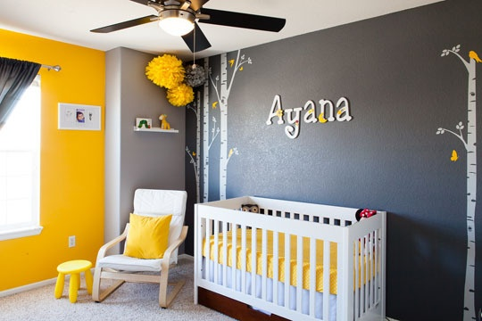 Grey, yellow nursery color combos. Wall Colors- Behr (Twenty Carat, Cathedral Gray, and Manhattan Mist)