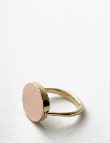 14 karat rose and yellow gold flip ring