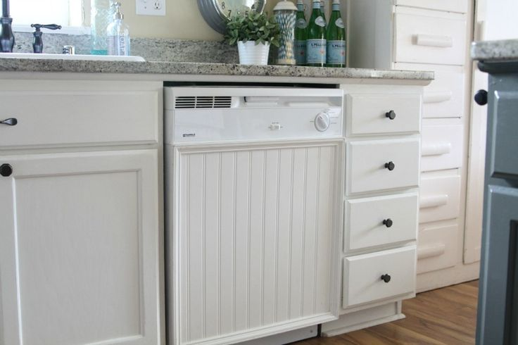 25 best ideas about dishwasher cover on pinterest faux for Black beadboard kitchen cabinets
