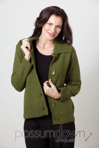 Women's Possum Fur Merino Wool Button Collar Cardigan