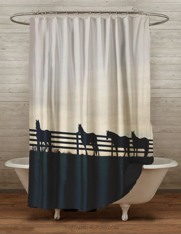 Horses At The Fence Equestrian Themed Shower Curtain Horse Shower Curtain Horse Shower Curtain Bathroom Shower Curtain
