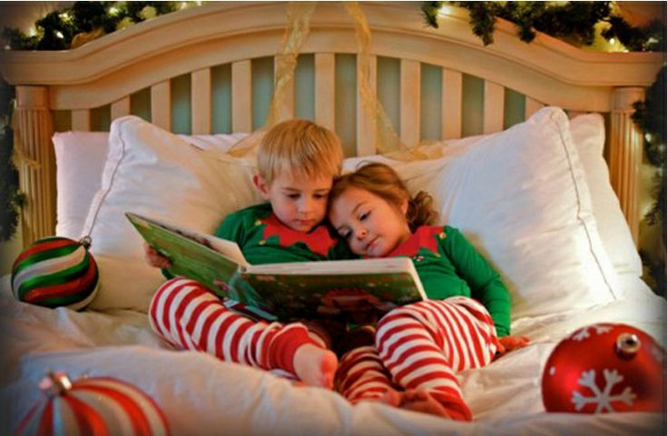 Elves in bed Christmas photo for kids