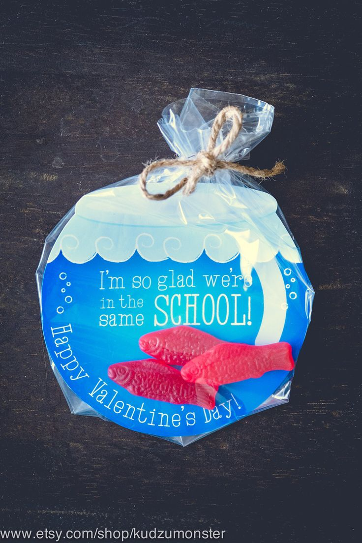 INSTANT DOWNLOAD printable Valentines candy gift DIY fish bowl gold fish swedish fish gummies I'm so glad we're in the same school Valentine by KudzuMonster on Etsy https://www.etsy.com/listing/219448383/instant-download-printable-valentines