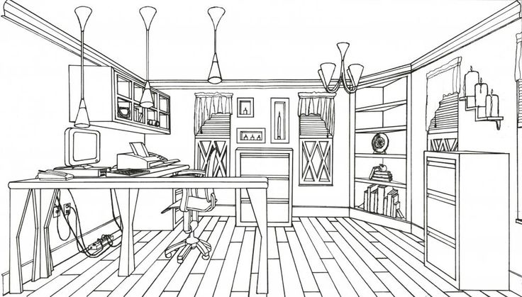 Line Art Home : Line drawing home offfice interior drawings pinterest
