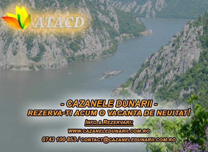 Esti in cautarea unei destinatii turistice mai putin cunoscuta in Romania dar care in acelasi timp este mai mult decat ideala pentru o vacanta de vis? In cazul acesta iti recomandam zona turistica Cazanele Dunarii! Ce crezi ca poate fi mai frumos decat sa vezi cum Dunarea ia cu asalt muntele, se arcuieste, adancindu-se pana la Portile de Fier, continuand apoi, triumfatoare, pana in dreptul orasului Drobeta Turnu Severin. Detalii la 0743 100 853 sau pe http://cazaneledunarii.com.ro/