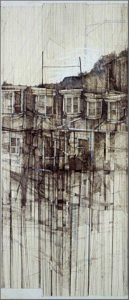 """Memory"" Megan McGlynn architectural drawing, pen and ink www.meganmcglynn.com"