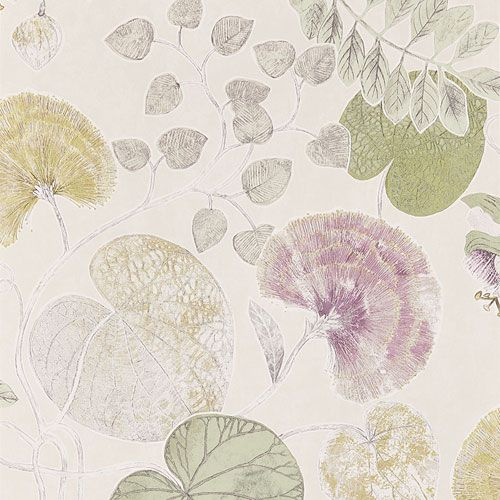 """PALMETTO 111259 midbec Ljus botten med slingrande blad i grönt och lilarosa """"Dardanella Linden/Heather"""""""