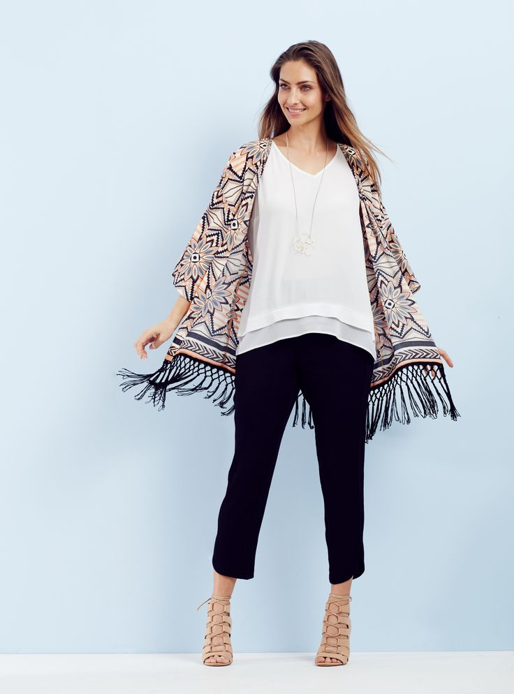 Dressed Up - Add a new season twist to a chic monochrome look with the exclusive print kimono. For easy day to night style pair with a nude heel and delicate silver jewellery.