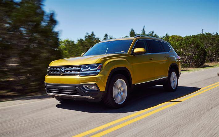 Hämta bilder Volkswagen Atlas, 2018, SUV, gul Atlas, Tyska bilar, Volkswagen