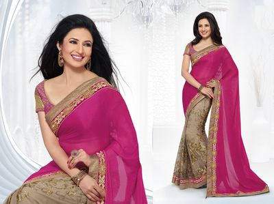 Ishita Fuchsia Pink And Beige Faux Chiffon Party Wear Saree Bollywood Sarees Online on Shimply.com