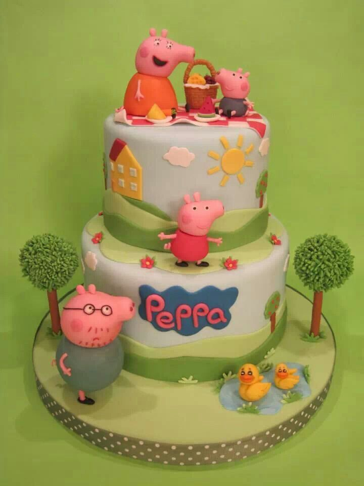 Peppa pig i like the simplicity of this cake