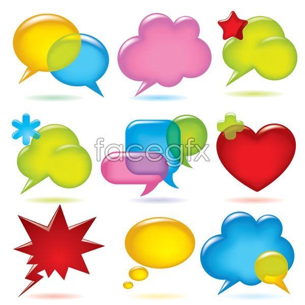 Dialog bubbles vector heart-shaped explosion Flash