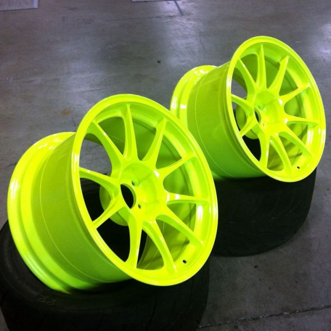 Fluorescent Yellow Neon Sport Rims Rims For Cars Rims Tires Cars