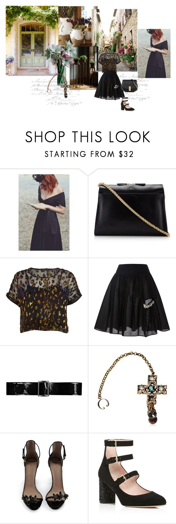 """Negro..."" by maryrosagaray ❤ liked on Polyvore featuring Pottery Barn, A.P.C., River Island, Simone Rocha, By Malene Birger, Tory Burch, Dsquared2, Kate Spade and Marc Jacobs"
