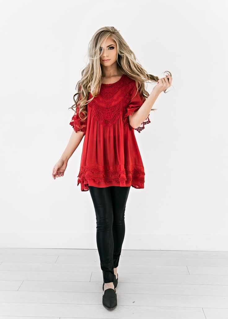 Scarlet Celeste Top, JessaKae, New Arrival, Red, Lace, Flowy, Top, Girly, Feminine, Detail, Spring Fashion, Womens Style, Womens Fashion, Blonde