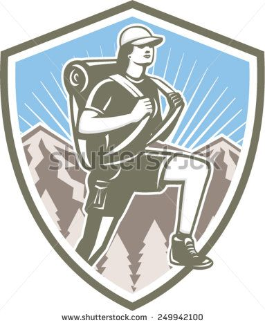 Illustration of a female hiker hiking walking set inside shield crest with mountains and sunburst in the background done in retro style.  - stock vector #mother #retro #illustration