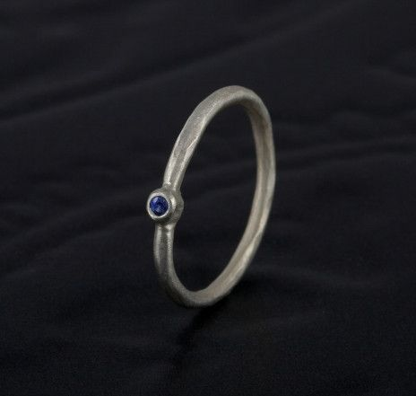 Gorgeous Dainty ring in silver set with 2mm blue sapphire. £95