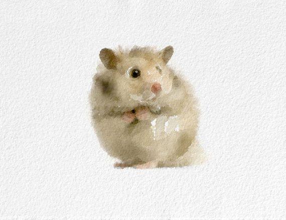 Hamster Watercolor Painting Art Print Animal Watercolor