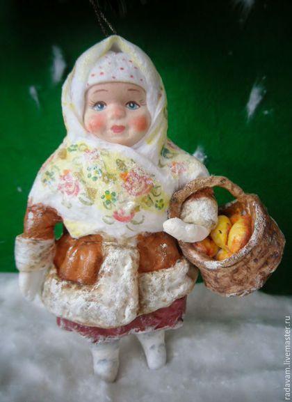"""Новый год 2017 ручной работы. Ярмарка Мастеров - ручная работа. Купить Ватная елочная игрушка """" Девочка с корзинкой """". Handmade."""