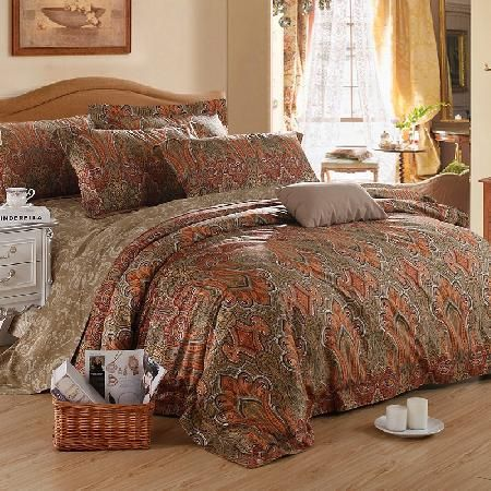 brown and orange houndstooth paisley indian tribal pattern retro gorgeous egyptian cotton full queen size bedding sets