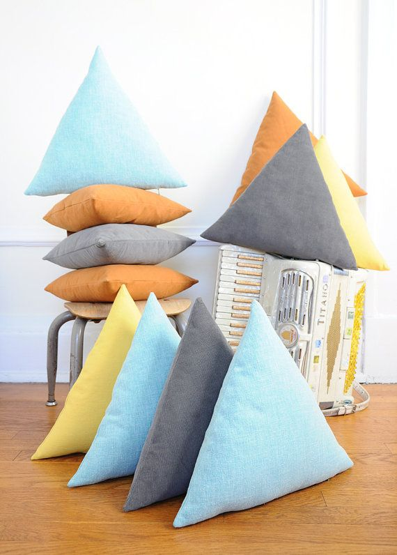 Equlateral Triangle Pillow - GREY Corduroy - Removable / Washable Cover - Geometric Decor