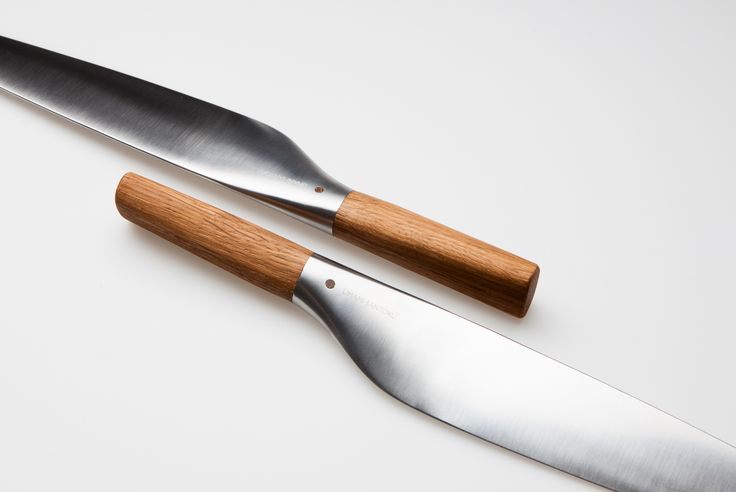Norwegian designer Per Finne's  santoku knife is an unusually sculptural kitchen implement, its soft rounded edges disguising a satisfyingly sharp edge. The curvature joining the blade's molybdenum vanadium steel with its oak handle is significant, offering a confident grip and aesthetically pleasing transition between knife and hand.