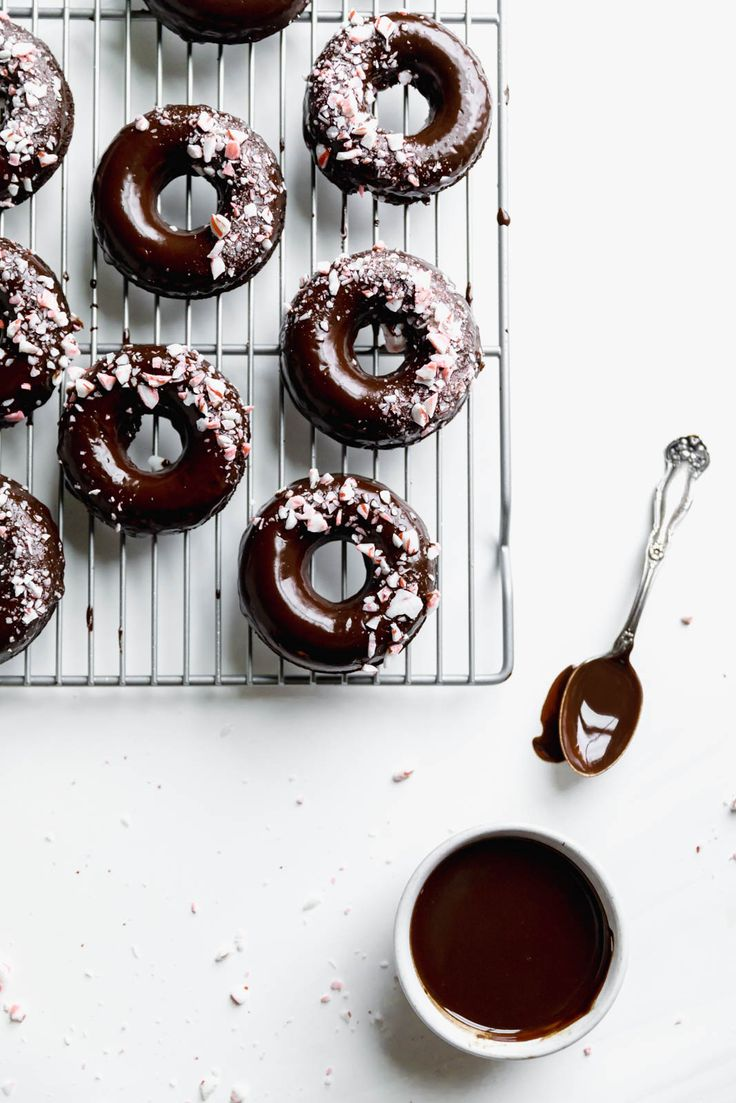 Ultra moist dairy-free and grain-free baked Peppermint Chocolate Donuts made top…