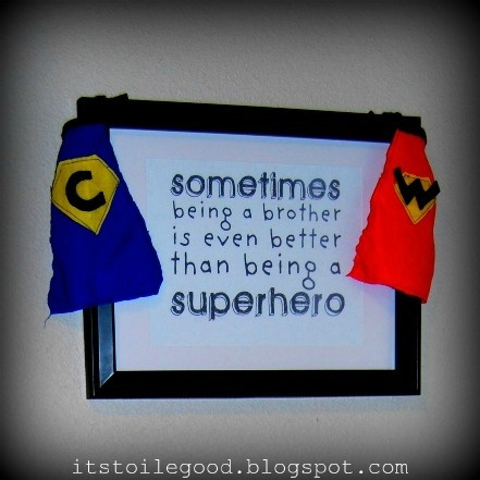 Sometimes being a brother is even better than being a superhero. (great blog worth saving too!): Brother Gifts, Superhero Rooms, Kids Stuff, My Boys, Boys Rooms, Big Brother, Super Heroes, Brother Quotes, Kids Rooms