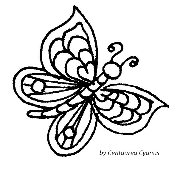coloring page by Centaurea Cyanus - butterfly