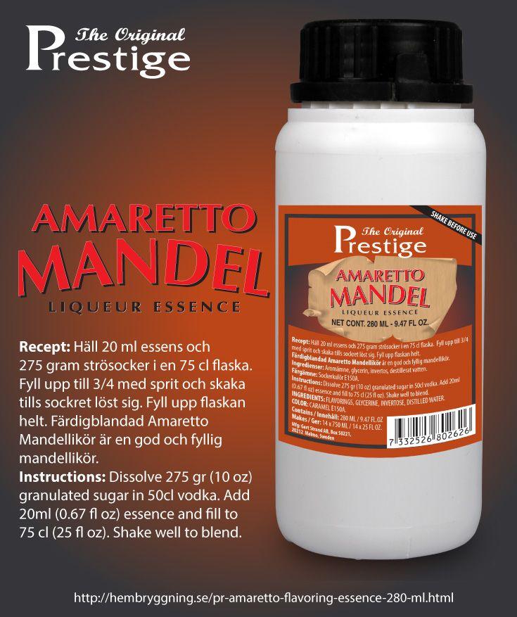 Amaretto är en av världens mest kända likörer. Karakteristisk mandelsmak, god on the rocks och passar även bra i drinkar.  En 280 ml flaska Amarettoessens räcker till att göra 14 flaskor (750 ml) Amarettolikör.   Doseringsmått ingår för att dosera lagom mängd till en 75 cl flaska. Instruktioner och mer information finns på etiketten.