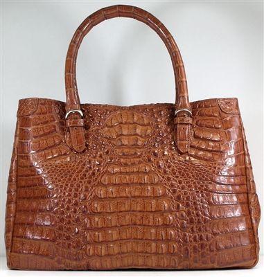Crocodile Bags Genuine Cognac Crocodile Leather Handbags. Big real crocodile head hornback skin women's handbags.