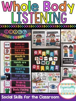 The beginning of the school year is the most important time to teach classroom expectations! Start the year off right with theseThis Whole Body Listening Bundle Includes:- Classroom Expectations Banner- Bulletin Board Rules- Whole Body Listening Posters and Labels- Hand Held Flipbook- Interactive Social Story- Keychain visuals- Worksheets- 12 Page Student Book - Parent Note