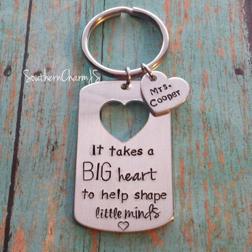 This adorable hand stamped key chain makes the perfect end of the school year gift. If youre adding the teachers name on a small heart, please