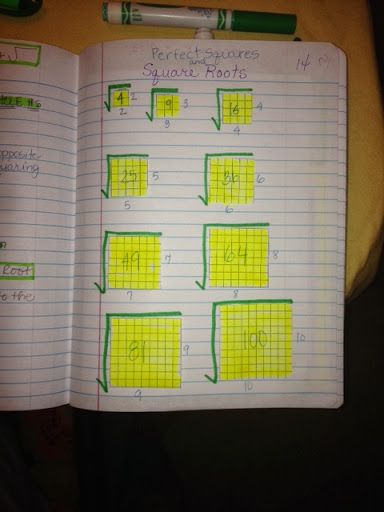 Perfect Squares and Square Roots 7th Grade AIG Math INB - Melissa Harris - Picasa Web Albums